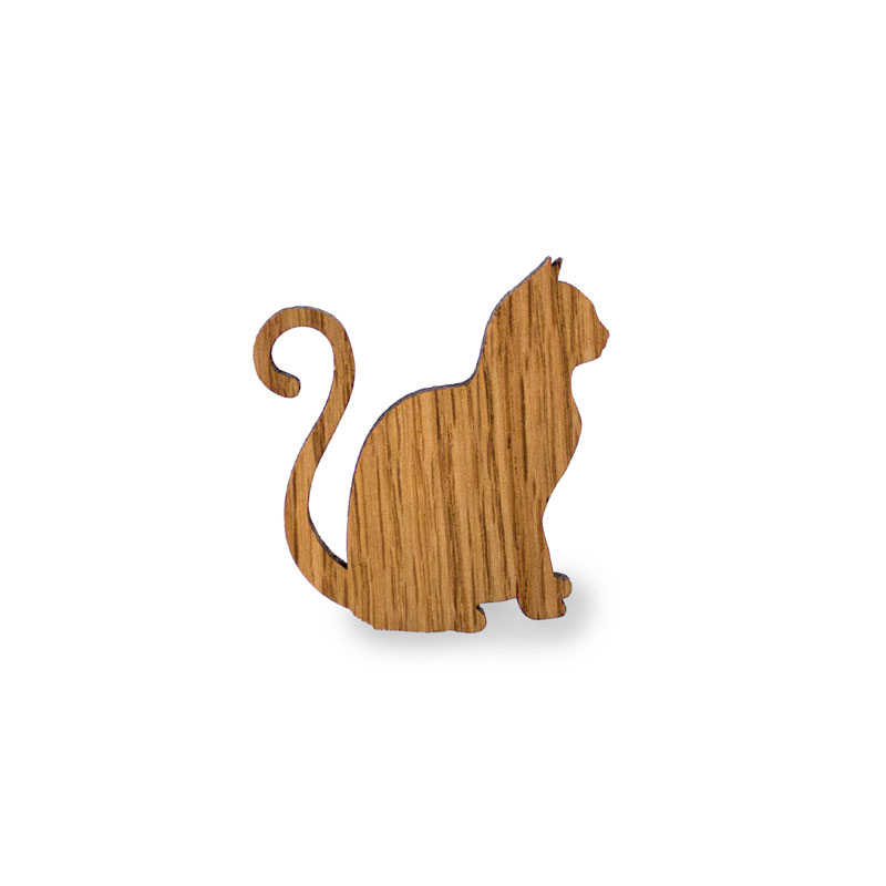 Magnet in Form einer Katze aus Eiche