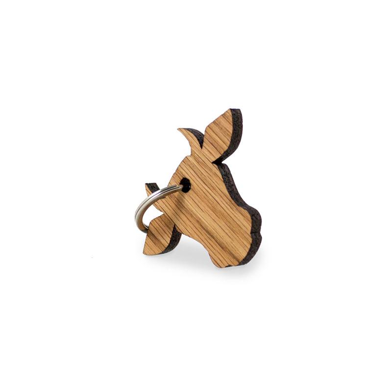 Schlüsselanhänger Kuhkopf aus Eiche