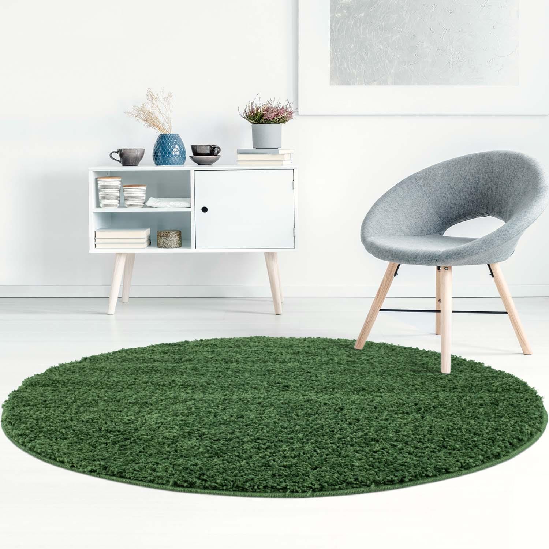 tapis rond trim vert