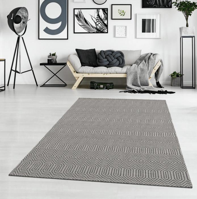 tapis coton kebira gris beige