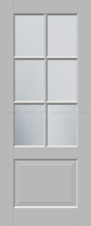 <h5>Trend R522</h5><p>Paneeldeur uit te voeren met A1, A2, B1, B2 en E1 profilering.  Keuze uit beglazingssoorten, Blank glas, Satijn glas, Blank facet geslepen glas en Satijn facet geslepen glas.</p>