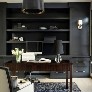 Best Home Office Ideas With Black Walls 25