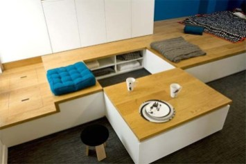 Contemporary Micro Apartment Organized With Boxes 12