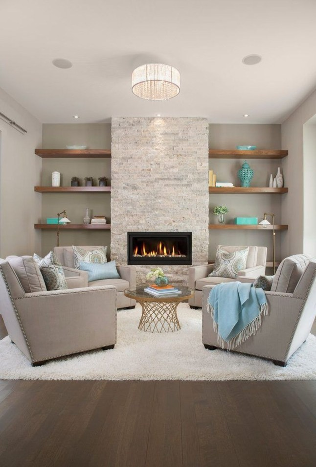 Comfy Winter Living Room Ideas With Fireplace 29