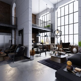 Perfect Industrial Style Loft Designs Ideas For Living Room 32