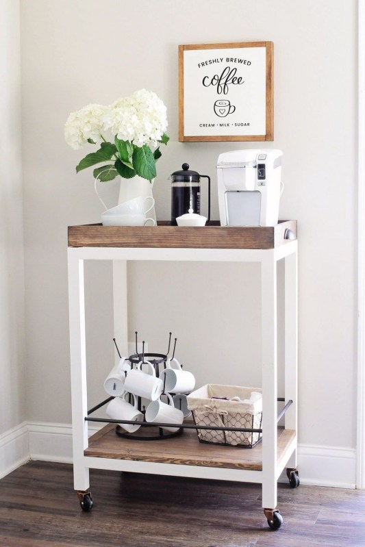 Wonderful Apartment Coffee Bar Cart Ideas 53
