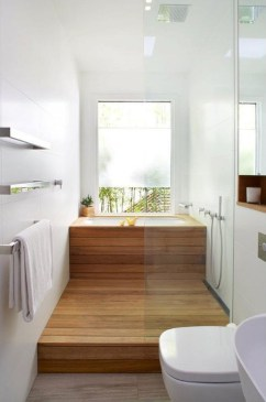 Cozy Small Bathroom Ideas With Wooden Decor 26
