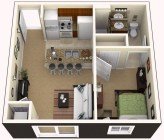 Adorable One Bedroom Apartment Design Idas02