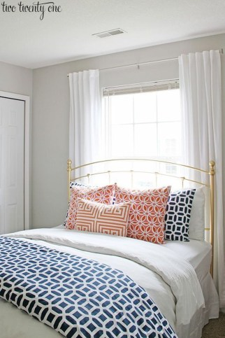 Beautiful Navy Blue And Coral Bedroom Decor15