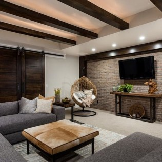 Cool Basement Living Room Design Ideas36