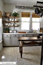 Incredible Farmhouse Gray Kitchen Cabinet Design Ideas37