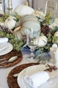 Lovely White And Orange Pumpkin Centerpieces For Fall And Halloween Table06