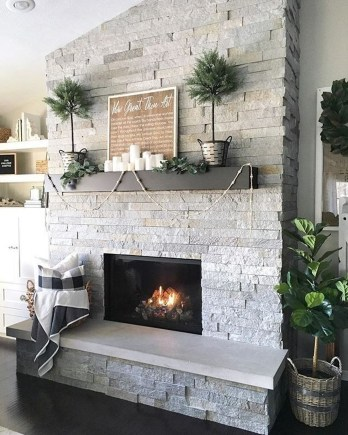 Modern Brick Fireplace Decorations Ideas For Living Room10