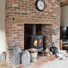 Modern Brick Fireplace Decorations Ideas For Living Room25
