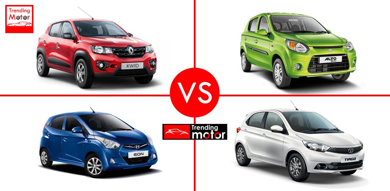 Renault Kwid Vs Maruti Alto 800 Vs Hyundai Eon Vs Tata Tiago  – Comparison