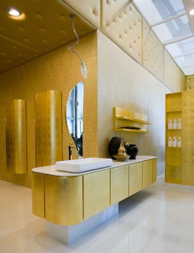 Cerasa Suede bath vanity in gold leaf finish