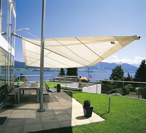 Sun Square sale-like awning installed over large patio