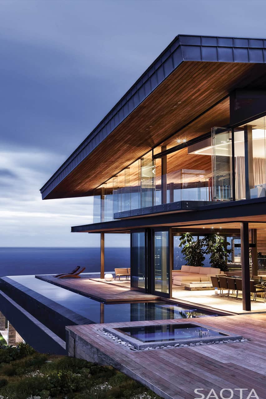 Gorgeous Ocean House with Perimeter Overflow Pool   Modern ... on Glass House Design Ideas  id=21334