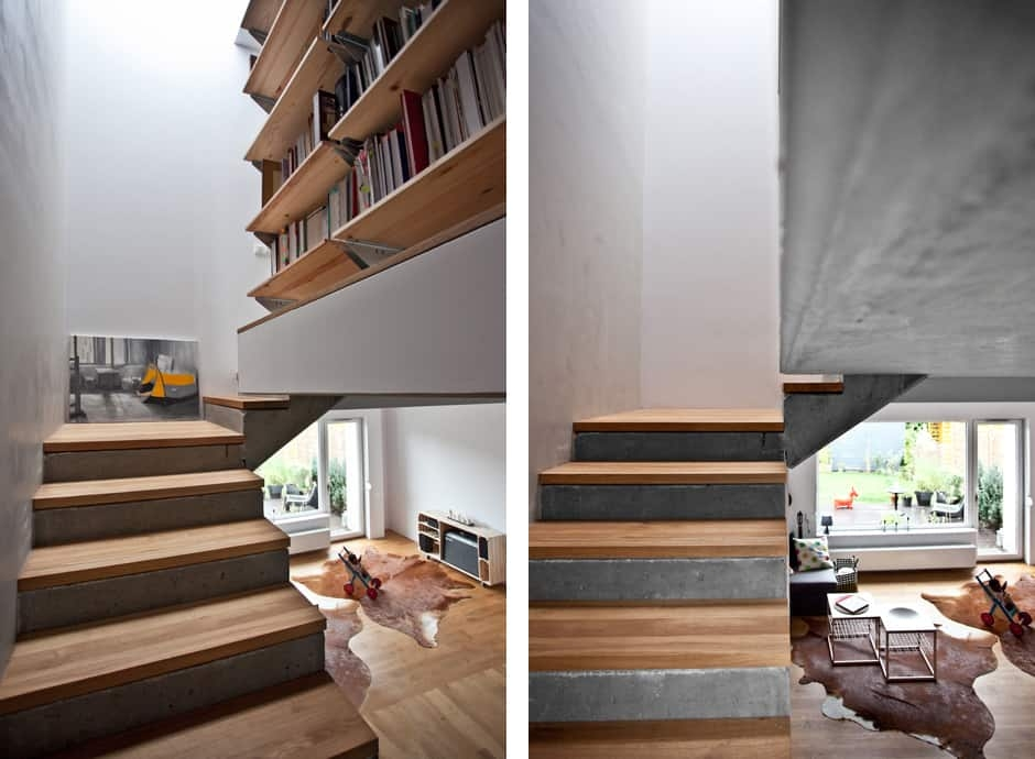 Concrete House With Forest Inspired Details Modern House   Concrete Stair Design For Small House