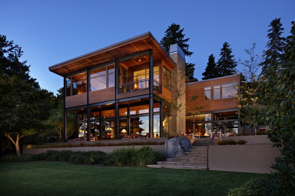 Grand glass lake house with bold steel frame | Modern ... on Modern Glass Houses  id=40782