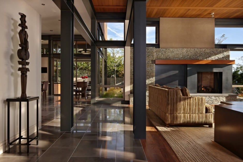 Grand glass lake house with bold steel frame   Modern ... on Glass House Design Ideas  id=59264