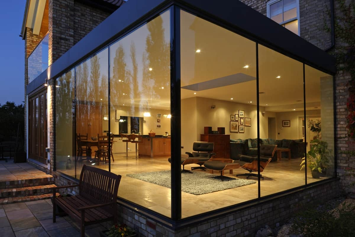 Modern Glass Addition to otherwise Traditional Home on Modern Glass House Design  id=14871