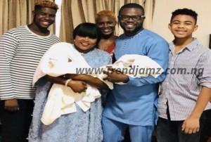Gist: Funke Akindele And JJC Skillz Share First Photo Of Their Newborn Twins