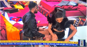 #BBNaija: Cross kneels down to beg Angel and to inquire why she's angry with him