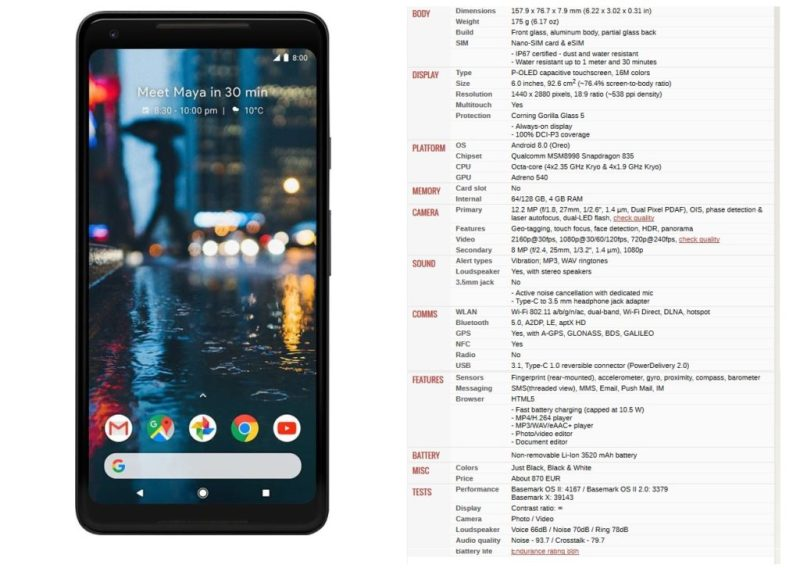 Google Pixel 2 XL - specs - Best Bezel less Phones 2018 - TrendMut - Best Smartphones