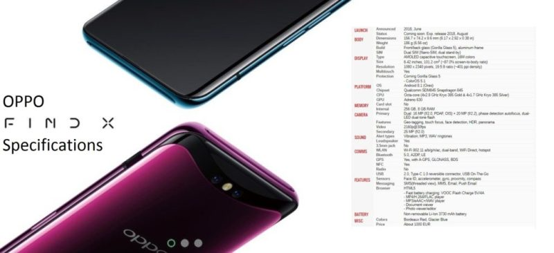 Oppo Find X Specifications - Best bezel less phone 2018 - TrendMut