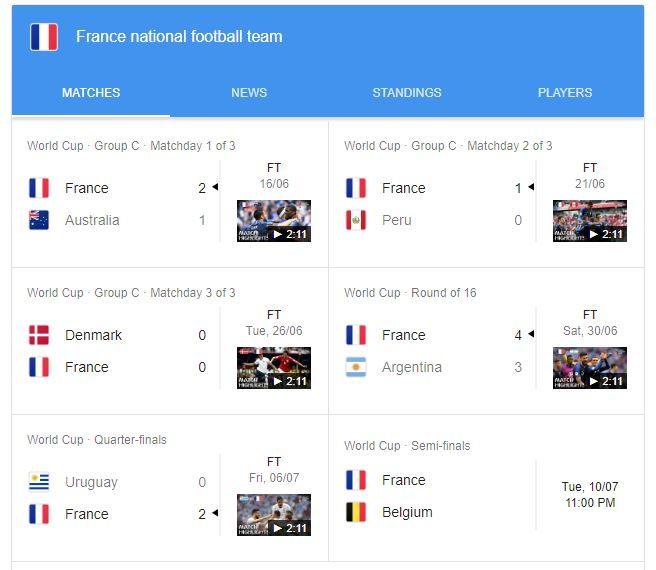 all France matches in fifa worldcup 2018