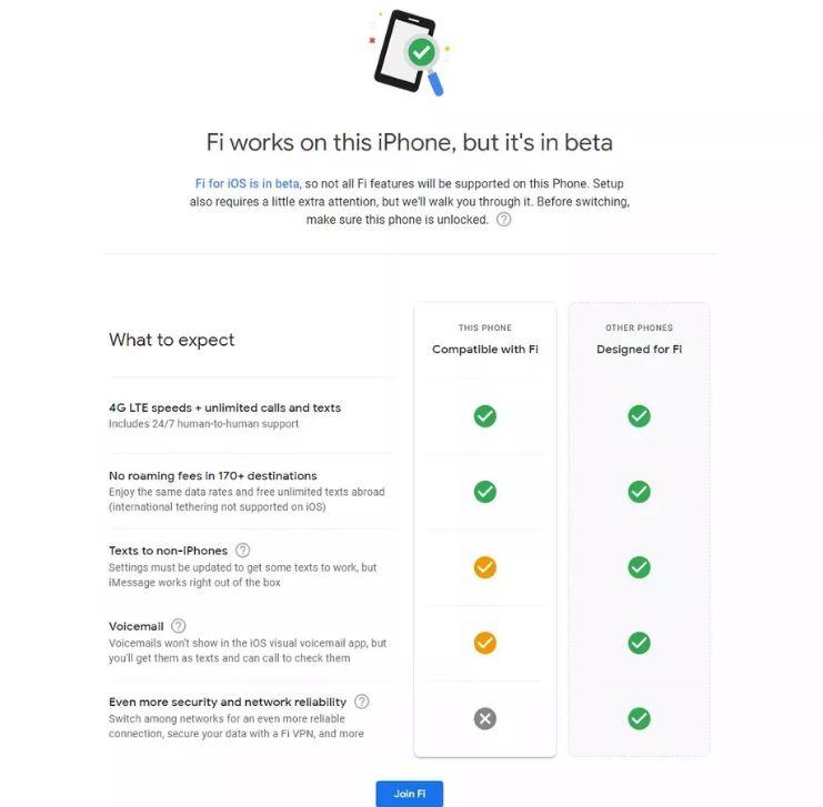 Google Fi iPhone Settings