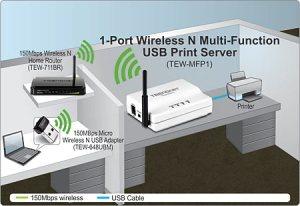 1Port Wireless N MultiFunction USB Print Server  TREND TEWMFP1