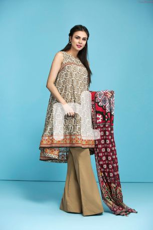 Embroidered Lawn 3 Piece-Nishan Linen Spring Summer Collection 2017 3 Piece Embroidered Lawn- Price 3,200