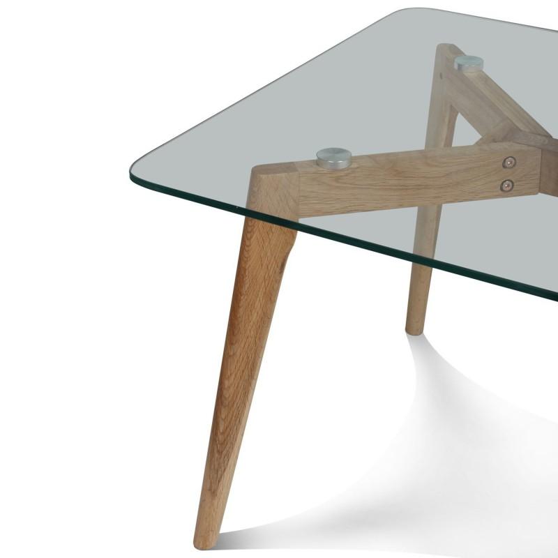 Table Basse Design En Verre Et Bois 110x60x45cm FIORD