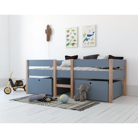 lit mi hauteur avec rangements bleu alto junior bln kids