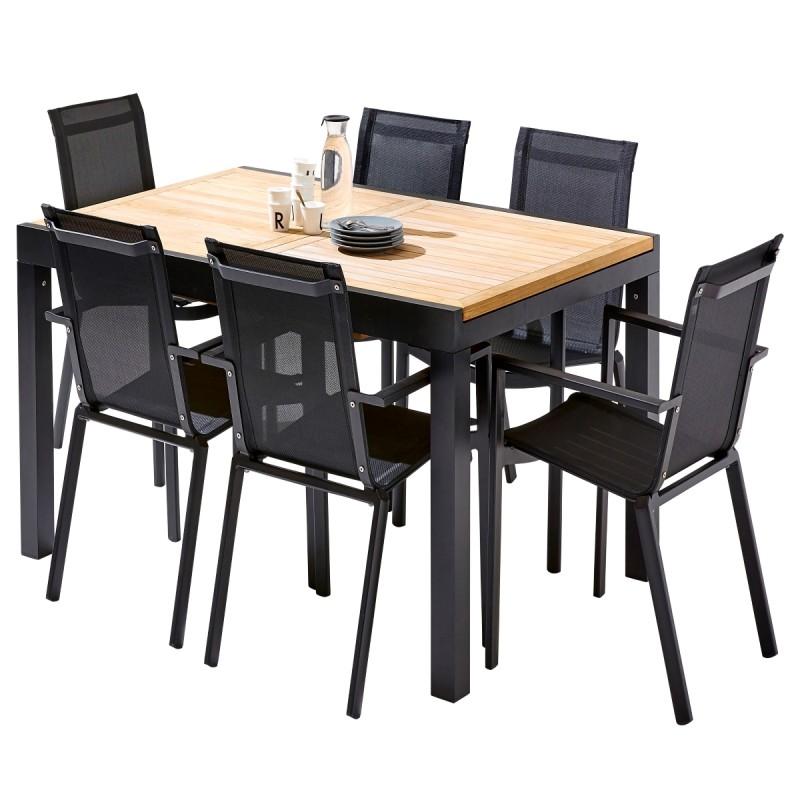 salon de jardin table extensible en teck l150 240cm et 6 fauteuils noir bali wilsa