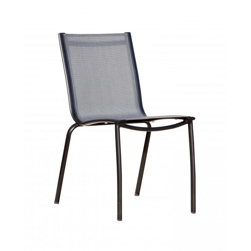 chaise de jardin empilable en aluminium brosse noir et textilene gris argent linea lot de 2 proloisirs