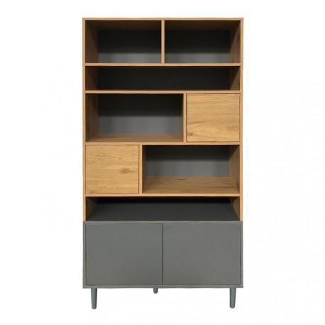 bibliotheque 4 portes 6 niches decor chene gris 90x40xh180cm sully meja