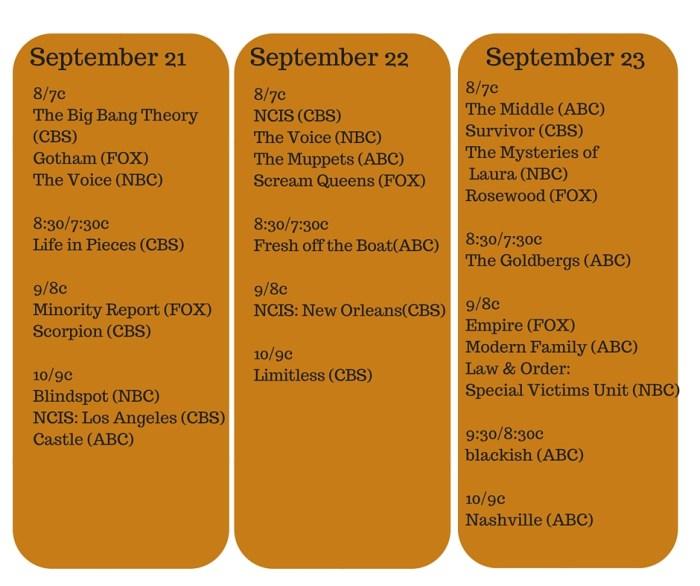 Fall TV Premiere Dates #FiOSNY