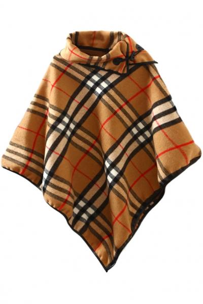 camel-plaid-high-low-cape-coat