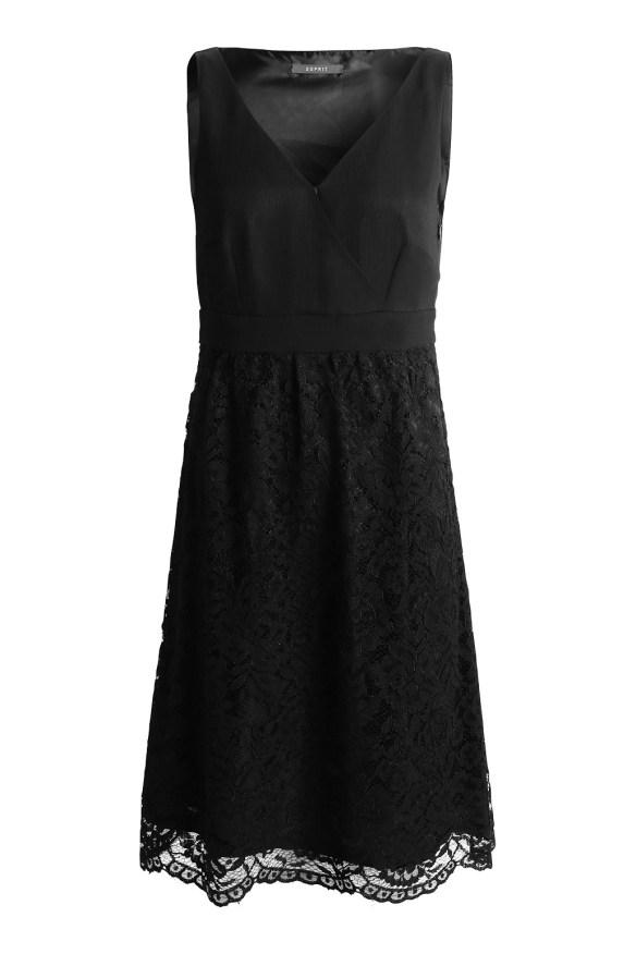 esprit shop on line idea regalo donna abito nero pizzo