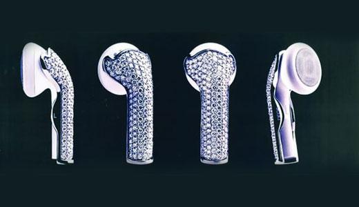 Diamond-encrusted earphone covers