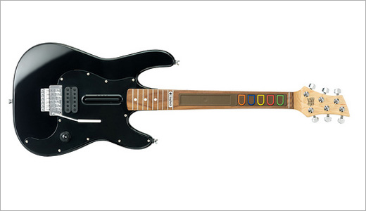 black Logitech Wireless Guitar Controller for PS 3 and PS 2