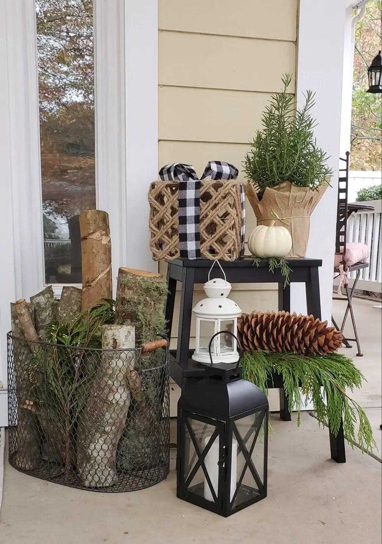 winter front porch vignette