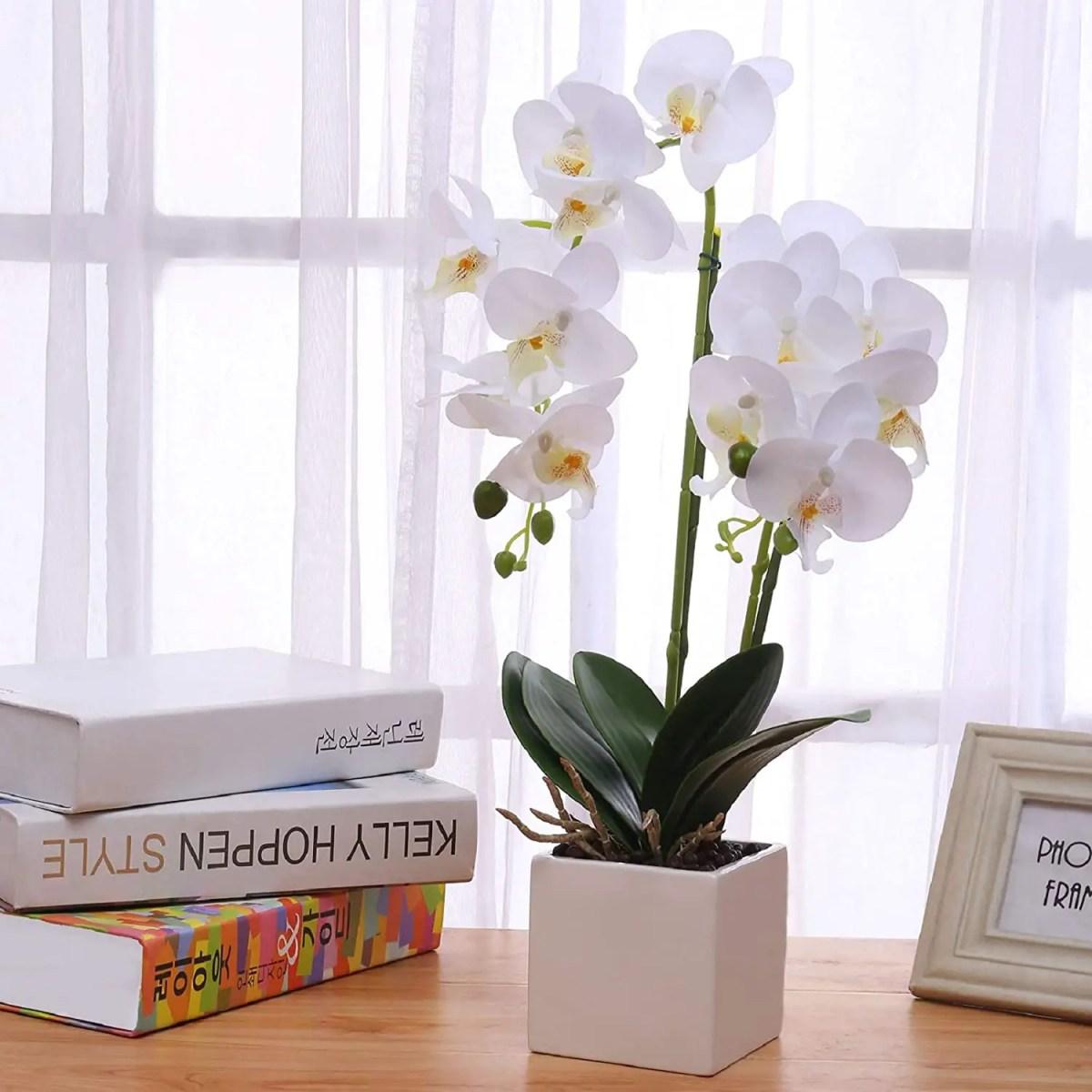 Fake-Orchids-in-Ceramic-Vase