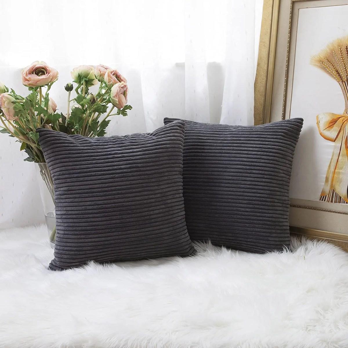 Striped-Velvet-Corduroy-Pillowcases-dark-grey