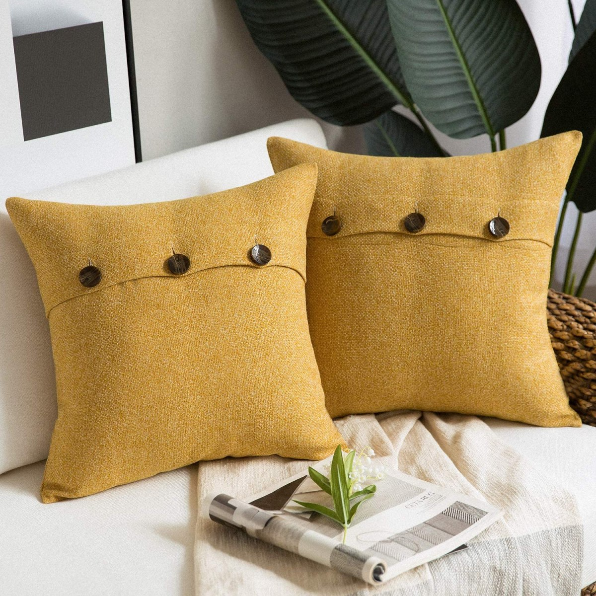 Triple-Button-Linen-Pillow-Covers