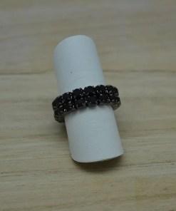 Elastische ring met zwarte zirkonia - Trendy Juweeltjes