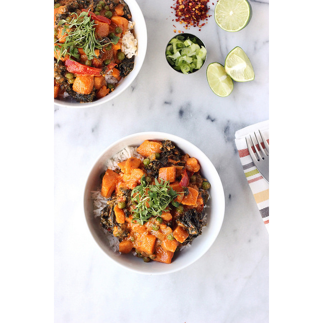 sweet potato and kale coconut curry